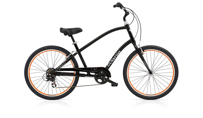 Фотография Велосипед Electra Townie Original 7D Men's Black w/orange rims фото